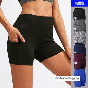 Lady Gao Waist Yoga Three Trouser Belt Pocket Running Training Tight Fit Speed Dry Elastic Force Fitness 3 Points Shorts 2049