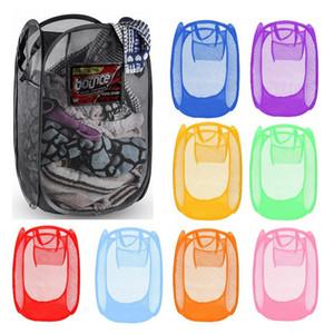 Malla de lavar plegable cesta de la ropa de almacenamiento suministra hasta el lavado de ropa de lavandería cesta compartimiento cesto de malla bolsa de almacenamiento 120pcs T1I1807