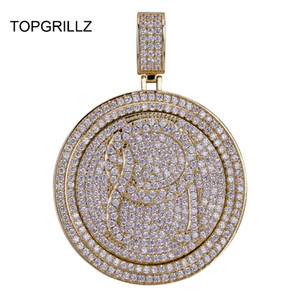 Topgrillz Qc Spinner Letter Pendant Necklace Iced Out Hip Hop punk Gold Silver Color Chains For Men Cz Charms Jewelry Gift J190616