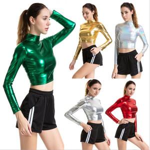 Turtleneck Short T-shirt Women Shiny Metallic Long Sleeve Crop Top Fashion Expose Waist Streetwear Nightclub Performance Costume