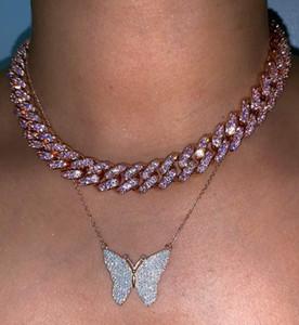 ROSE fille bijoux des femmes micro pave cz rose miami chaîne lien cuban collier étrangleur bijoux hip hop de la mode féminine