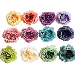 10colors10CM Silk Peony Flower Head oil painting retro Artificial Flowers DIY Wedding Party Wall Arch Decoration Supplies LX1947