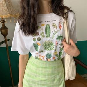 المتناثرة سمين الصبار نبات لطيف إلكتروني المطبوعة تي شيرت الإناث ulzzang أزياء الصيف فضفاض عارضة جولة الرقبة الرجعية المرأة تي B1WC161