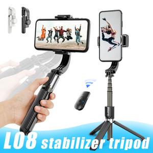 L08 El Tutma Sabitleyici Tripod Anti-shake Selfie'nin Çubuk Tripod Kablosuz Bluetooth Vlog Canlı Show için Uzaktan Kumanda