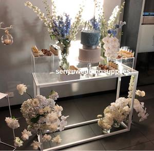 Neue Art Custom-Acrylklar Zylinder Anzeige Plinths White Wedding Kristallacryl Flower Stand senyu0431
