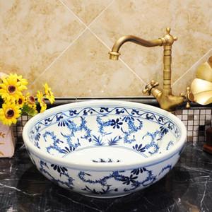 Azul e Branco bacia chinesa antiga lavagem pia de cerâmica cerâmica Bancada de lavatório de casa de banho Pias pia bacia banheiro