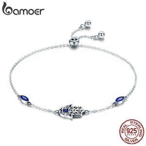 Venta caliente de Bamoer 100% 925 plata esterlina Lucky Hamsa Fatima pulseras de eslabones de la mano para las mujeres joyería de plata azul Cz Scb076 MX190727