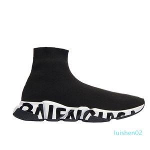 2020 Designer Sneakers Velocità Clearsole nero di cotone lavorato a maglia Bianco Nero graffiti suola piatta calzino caricamenti del sistema dei pattini casuali Speed Trainer Runner L02