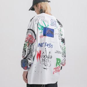 Ebaihui 유럽과 미국의 하이 스트리트 힙합 타이드 브랜드 드래곤 문신 낙서 인쇄 긴 소매 T 셔츠 남성 가을 의류