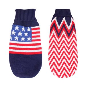Pet Winter Warm Sweater Dog American Flag Wave Pattern Coat Clothes Warm Outfits Pet Vest Sweater For Small Medium Dogs