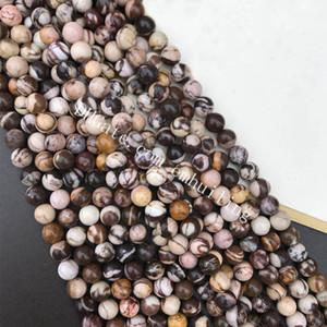 10 hebras Venta al por mayor Genuino Natural Australia cebra Jasper forma redonda 4 mm 6 mm 8 mm 10 mm 12 mm suelta piedras preciosas perlas para DIY joyería que hace
