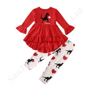Nouveau bébé Gilrs Survêtement Kids Love Coeur Dinosaur imprimé à manches longues T-shirt + pantalon costume deux pièces pour enfants Vêtements de Noël Ensembles A122002