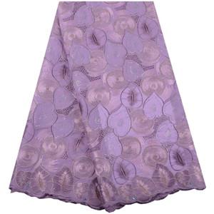 2019 высокое качество хлопка нигерийские кружевные ткани горячая распродажа камни сетка африканский кружевной ткани швейцарский французский кружевной ткани свадебные A1549