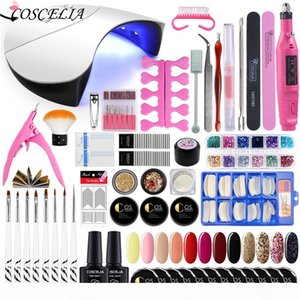 Nail Art Set 36W UV Led Lamp Dryer With UV Gel Nail Polish Set Kit Tools Gel Varnish Manicure Tools Kit Electric drill