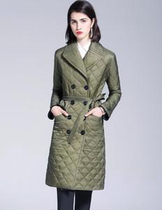Nuevo estilo 2019! las mujeres de moda de Inglaterra, más larga de algodón acolchado diseñador de la capa / de la marca de doble botonadura de la chaqueta de las mujeres del tamaño S-XXL # 886F240