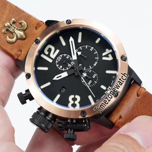 Flightdeck U-72 U72 VK Cronografo al quarzo Orologio da uomo PVD bicolore con castone in oro rosa Quadrante nero Quadrante bianco Orologio nero Orologio in pelle nero con fuso orario E02e5.