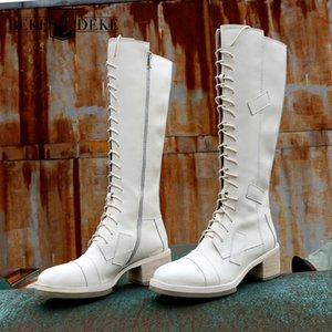Women Winter Genuine Leather Knight Boots Block Med Heels Lace Up Knee High Boots Motorcycle Riding Boots Casual Safety Shoes