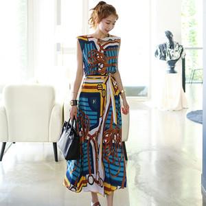 New Fashion Designer Ensemble 2 pièces manches en mousseline de soie vintage imprimé aronde Shirt Femme Top + Lacets Set Jupes longues 2Pcs