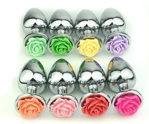 Butt Plug Rose flor Forma de Metal Alloy plug Stainless Steel Dildo Vibrator Jeweled Anal Butt Plug Sex Toys para Homens Casais