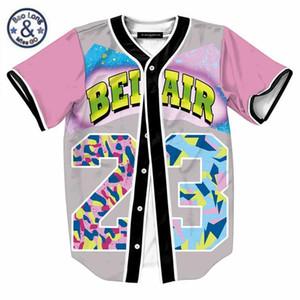 Mens Single Breasted 3D Shirt Streetwear Hip Hop Summer T Shirt Bel Air 23 Fresh Prince Chill Flower Overshirt Baseball Jersey