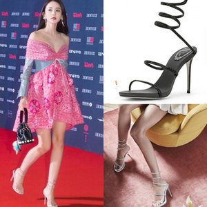 Crystal2019 Ayakkabı Yüksek topuklu Bandaj Kadın Güzel Yaz Roma Sandalet Ile Bir Kelime Yılan Derisi Wrap Rhinestone Getirmek Soğuk Boot Ayak