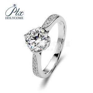 cor branca super 1ct redondos corte 925 moissanite anéis de diamante