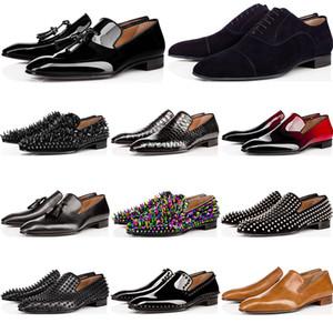 Christian Louboutin Cheap mens sapatos de grife mocassins ocasional preto spike vermelho couro envernizado mocassim apartamentos Wedding Dress bottoms tênis Partido do negócio