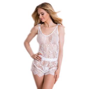 2 ADET beyaz dantel Pajama Gecelikler Pijama Ev Suit kadın pijama iç çamaşırı pijama gecelik Femme