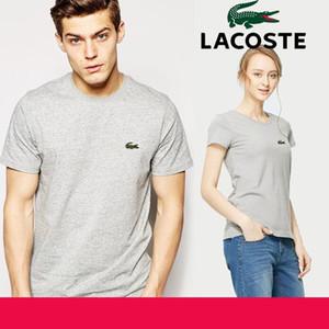 100% ALGODÃO camisa dos homens t ocasional t-shirt de manga curta dos homens das mulheres crocodilo bordado homens camiseta crewneck mens camiseta plus size s-5xl