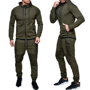 2 PC Zipper Hommes Suivi Sport Sert avec Poches Jogging Athletic Unie Veste + Pantalons Hommes Automne Travos Suivre SweatSuit Vente chaude