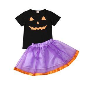 Новое поступление 0-5Т малышей новорожденных девочек Holloween одежда набор младенцев малыш тыква тюль пачка юбка костюм наряд наборы