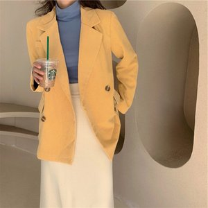 Hong Kong Women Spring Autumn Long Sleeve Yellow Corduroy Blazer Jacket Coat Lady Double Breasted Solid Color Pocket Overcoat