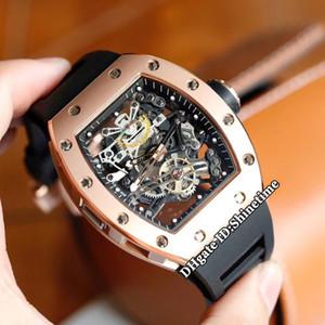 높은 버전 RM38-01 해골 일본 미요 자동 기계 RM 38-01 남성 시계 로즈 골드 케이스 블랙 러버 스트랩 스포츠 시계 다이얼