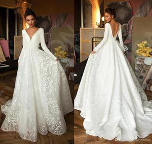 Sexy Vintage Dentelle Satin Robes De Mariée Satin De Deep V cou à manches longues robe de mariée sans dos robe de mariée Appliques robe de mariée