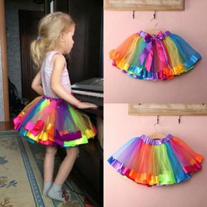 Çocuklar Bebek Sevimli El yapımı Güzel Renkli Tutu Etek Kız Gökkuşağı Tül Tutu Mini Elbise 0-8Y