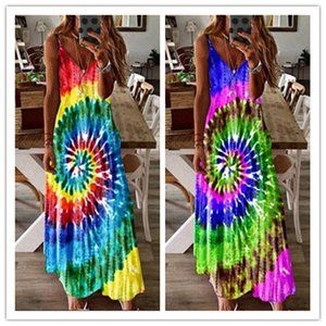 New Women Summer Maxi Dress Designer Tie Dye Whirlpool Long Dress Sleeveless Adjustable Strap Maternity Dresses Overall Beach Clothing D7104