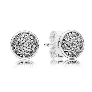 Wholesale Diamond 925 Sterling Silver Stud Earrings Rose Gold for Pandora Jewelry with Box of High Quality Women's Temperament Stud Earrings