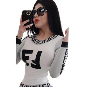 Kadınlar marka tasarımcısı t shirt mektup baskı ekip boyun uzun kollu tee üst güz kış giyim moda rahat spor tops yeni stil 1317