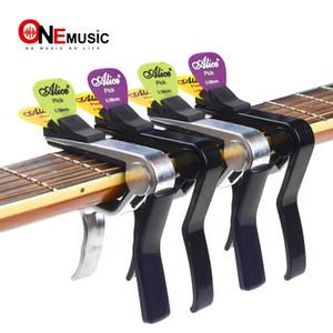 Alice nero e argento Capo Per acustica / elettrica / chitarra classica, Cappo Su Guitarra con Pick Holder Nuovo