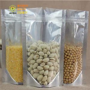 100Pcs Stand up Sacchetti per sacchetti di plastica con chiusura a spirale in alluminio trasparente. Sacchetti in plastica argento per biscotti