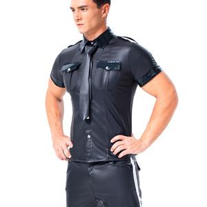 Traje Gay Men Sexy camisetas PU Leather camiseta manga curta de couro Sexy Preto Faux shirt Olhar Molhado Undershirt Sissy partido Clubwear Shirts