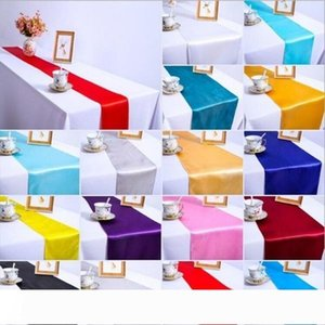 Satin Table Runner Wedding Party Banquet Decor Hotel Restaurant Satin Table Flag Table Linen Venue Decor Supplies 30*275cm