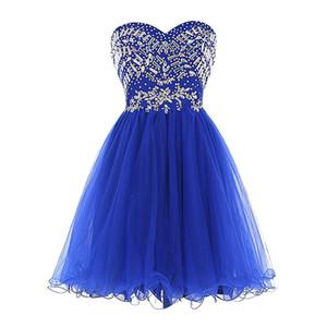 주니어 스위트 15 드레스 짧은 모조 다이아몬드 구슬 볼 가운 댄스 파티 드레스 연인 푹신한 얇은 명주 그물 홈 커밍 드레스
