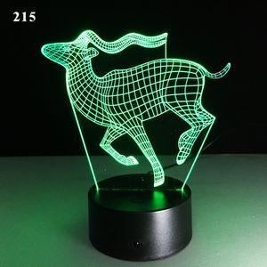 Lampes tactiles transparentes de Noël Coloré Deerstereo Vision LED Lumières Lumière 3D Nuit Lumière Cadeau Atmosphère Lampe de table décorative