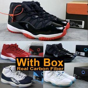Verdadera fibra de carbono 2019 11s Bred 11 Concord apagón zapatillas de baloncesto atasco del espacio de la marina de guerra azul medianoche gimnasia rojas zapatilla de deporte con la caja Shippment libre