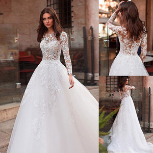 Attractive Tulle See through Bodice A line Wedding Dress With Lace Appliques Jewel Neckline Long Sleeves Bridal Gowns
