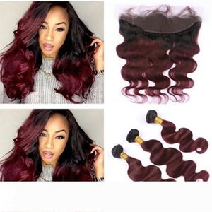 A Body Wave Burgundy Ombre Lace Frontal Closure 13x4 With Bundles 1B 99J Wine Red Ombre Virgin Hair Extensions With Ear to Ear Frontal