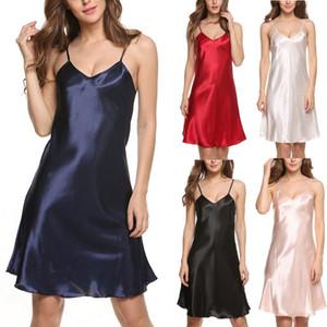 Женщины Сексуального белье пижама Сатин Babydoll шнурок Одеяние сон платье дама Сплошная ремень Летняя Nightgowns Sleepshirts