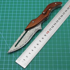 A mais recente alta qualidade máquina de faca de aço Damasco virabrequim dobrar cabo de madeira faca reta pacote de faca ao ar livre ferramenta de acampamento