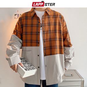 LAPPSTER Männer Plaid Patchwork Langarm-Shirt 2020 Korean Mode Harajuku Cltohes Mens Vintage-Hemd zuknöpfen Plus Size 5XL